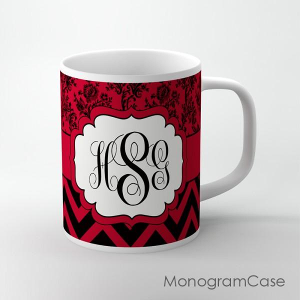 Floral pattern maroon black chevron coffee cup