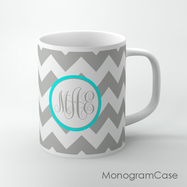 Gray monogrammed aqua label edging coffee cup