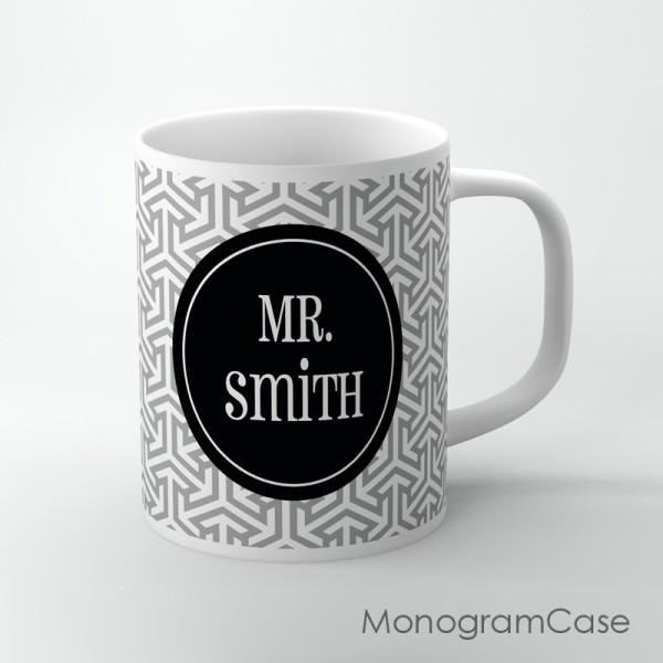 Grey geometric retro pattern customized mug