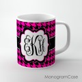 Houndstooth hot pink black vine monogrammed coffee cup