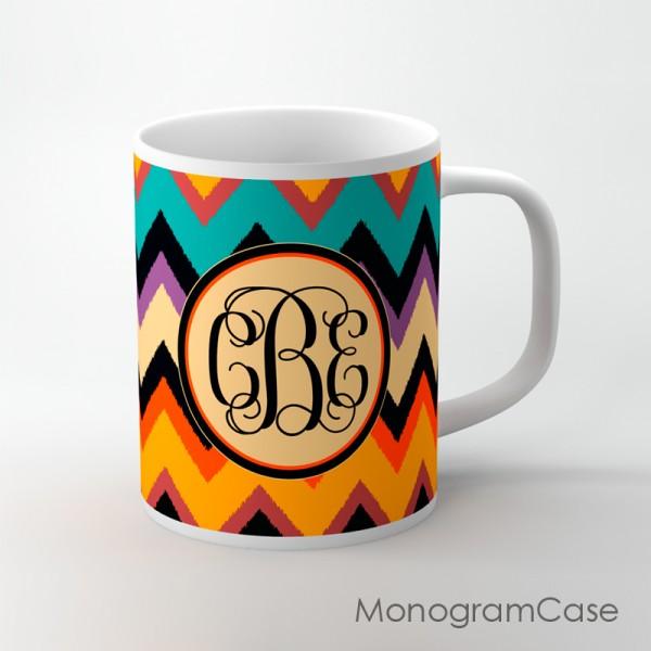Ikat colorful orange teal yellow tan chevron mug