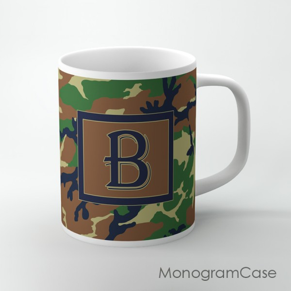 Khaki camo pattern green brown monogrammed cup