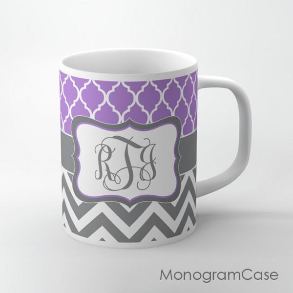 Lavender moroccan pattern dark grey chevron personalized mug