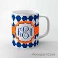 Navy diamond pattern orange design coffee cup