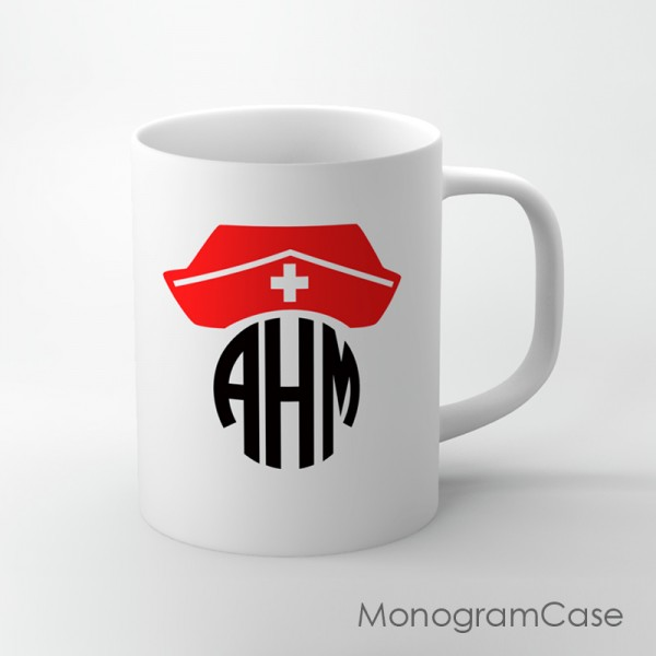 Nurse red hat design monogrammed mug