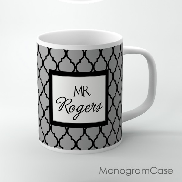 Personalized tea cup grey and black moroccan parttern