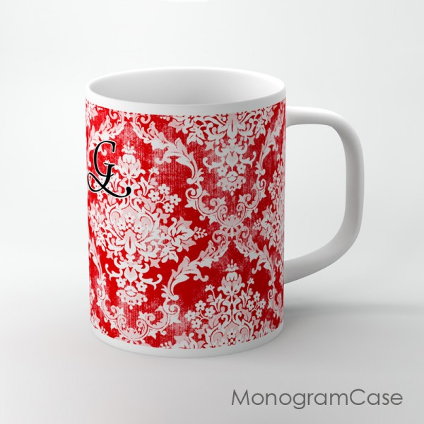 Red white vintage damask monogrammed coffee cup