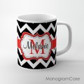 Stylish black  chevron with red ribbon tea cup