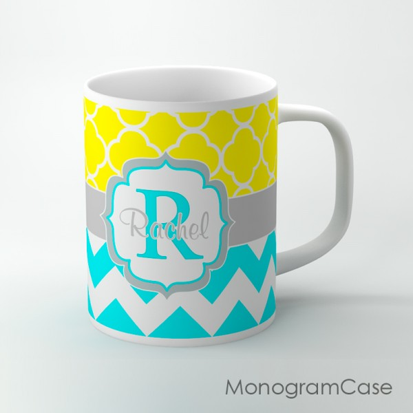 Sunny yellow coffee cup with aquamarine chevron