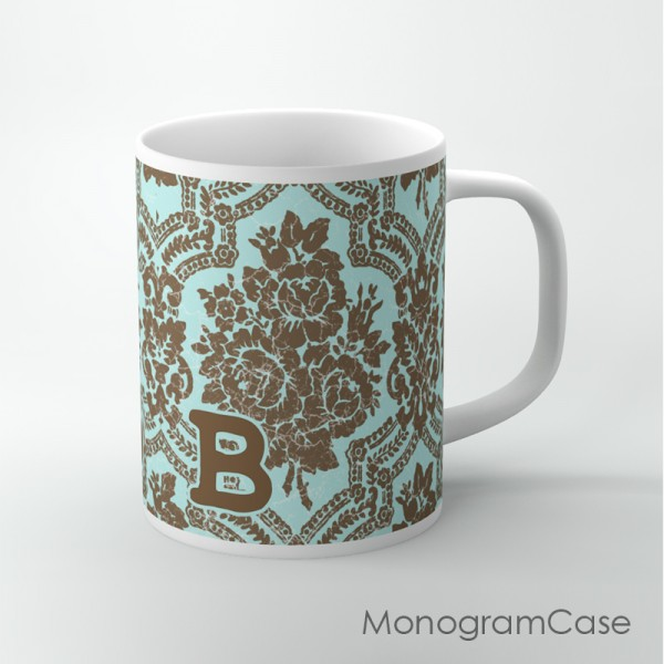 Vintage aquamarine brown damask coffee mug