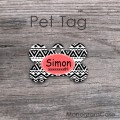 Tribal bone metal ID tag with coral customized label