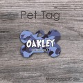Blue camouflage pattern custom pet tag