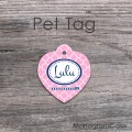 Blush pink heart shape dog tag girlish pet ID