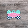 Aqua baby pink and navy set for dog ID tag