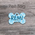 Bone name tag light blue with white paws