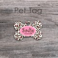 Brown pink cheetah animal print dog name tag