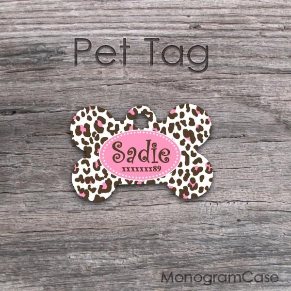 Brown Pink Cheetah Animal Print Dog Name Tag