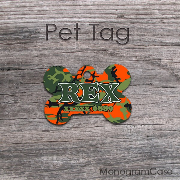Customized camo tag dog  orange green pattern
