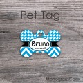 Carolina blue chevron houndstooth pattern pet tag