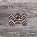 Colored chevron pet tag, metal ID dog or cats tags