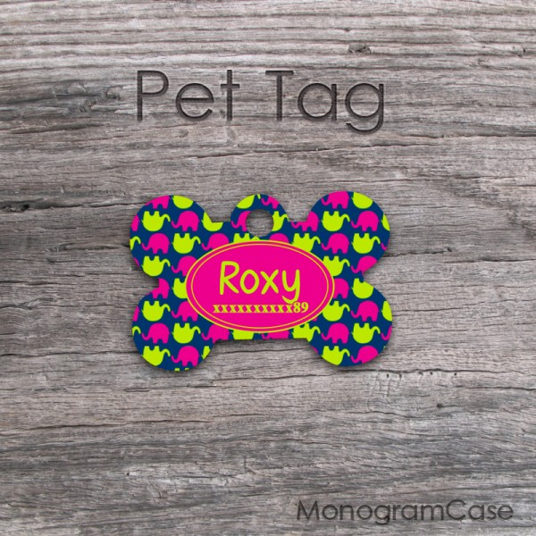 Cute hot pink lime elephants pattern customized pet ID