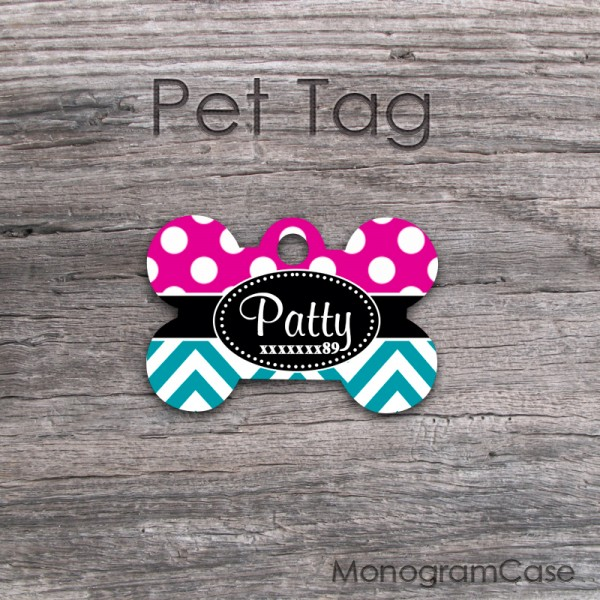 Cute hot pink polka dots turquoise chevron design pet tag