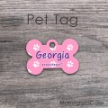 Personalized bone tag cute pink paws lavender design