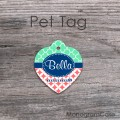 Diamonds coral mint quatrefoil pet tag