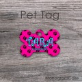 Paws pattern hot pink design metal tag