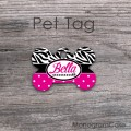 Customized dog tag animal print with hot pink polka dots