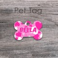 Hot pink and white hearts bone tag