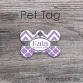 Lavender moroccan grey zig-zag design pet tag