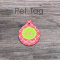 Lemon and coral round shaped dog tag