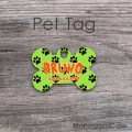 Lime black paws orange personalized dog tag