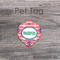 Marine pet tag coral and blush pink stripes and anchors