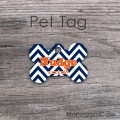 Midnight blue chevron orange name customized pet tag