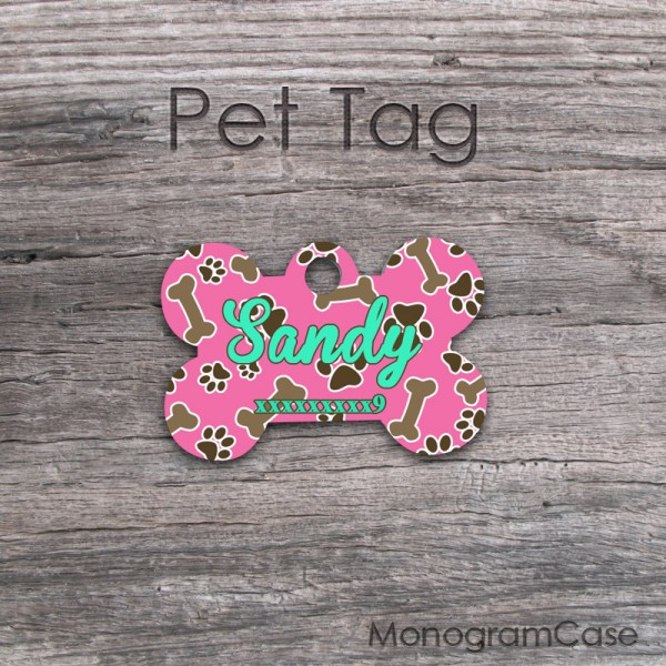 Dark pink pattern customized pet tag