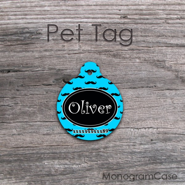 Mustaches print sky blue round pet tag ID