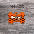 Mustaches print orange bone dog tag