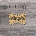 Mustard brown bones pet ID customized
