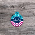 Nautical blue anchor pattern hot pink chevron design round pet tag