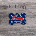 Nautical bone pet tag with anchors print