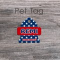 American stars pattern red design bell shape pet tag