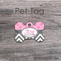 Pink quatrefoil with dark grey chevron pet tag