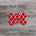 Red moroccan pattern custom bone pet tag