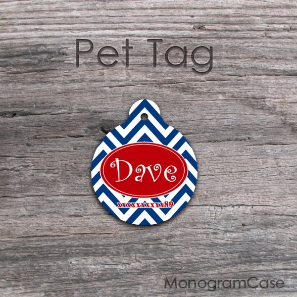 Red navy circle shaped pet customized tag