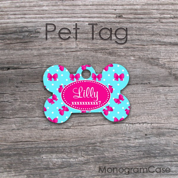 Cute ribbons over tiny dots printed on a pet ID tag