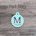 Round aqua blue chevron personalized cat or dog ID tag