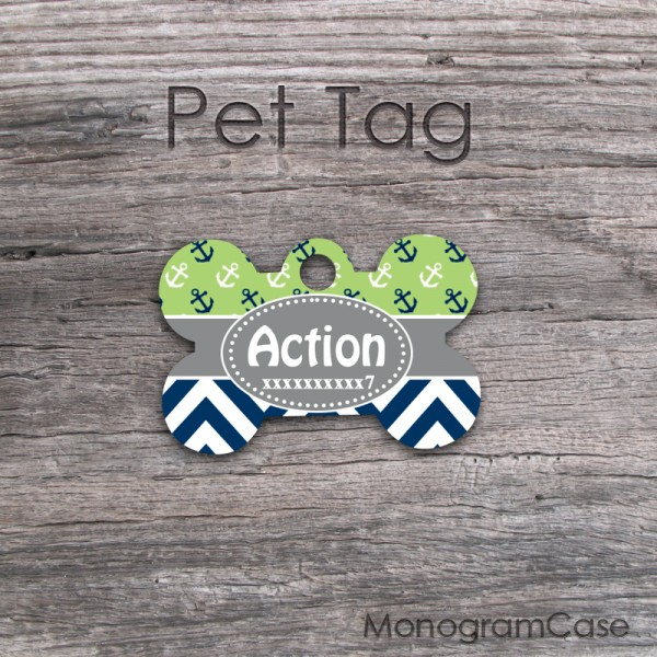 Sea anchors pet tag on apple green background