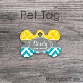 Sunflower yellow moroccan turquoise chevron pet tag